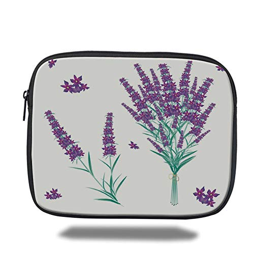 Tablet Bag for Ipad air 2/3/4/mini 9.7 inch,Lavender,Aromatic Blossoms Bouquet from Provence France Fragrant Herbal Flora Decorative,Purple Magenta Teal,3D Print ()