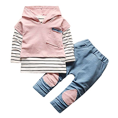 (haoricu Baby Girls Clothes Long Sleeve Hoodie Stripe T-Shirt Tops Sweatsuit Long Pants Outfit Set)
