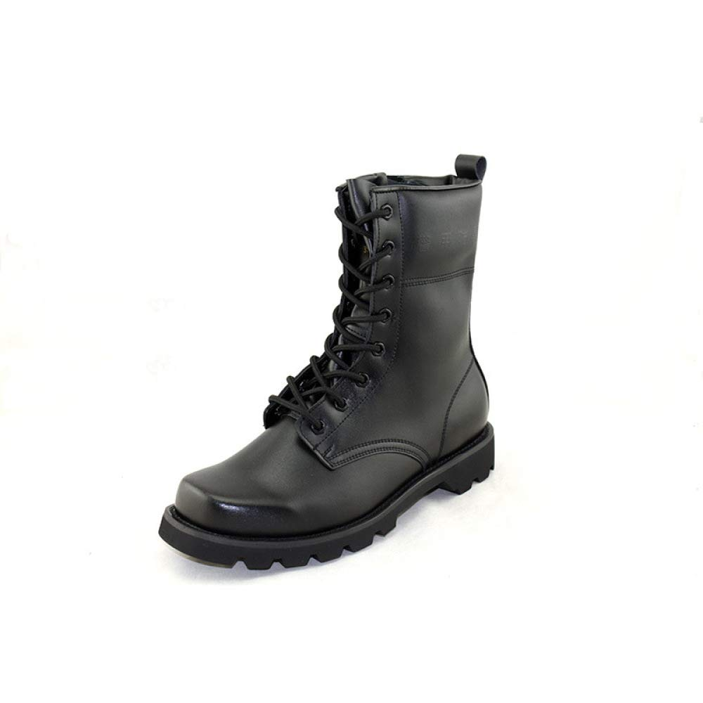 QIKAI Kampfstiefel Bequeme Dämpfung Tragbare Outdoor-Schuhe Riot Training, Hohe Lederstiefel