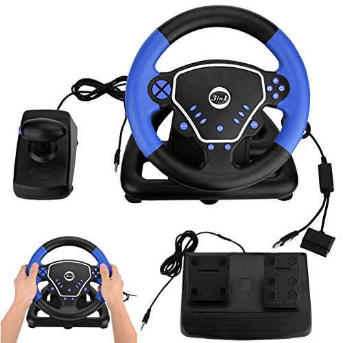 Ps2 Steering Wheel - Yosoo- 3 in 1 Game Steering Wheel, 180 Degrees Universal USB Computer Vibration Racing Game Wheel Plus Pedal Racing Game Simulator for Xbox PS2 PS3 PC and Android Mobile PlayStation Accessories