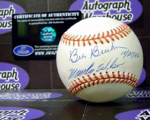 Signed Bill Buckner Baseball - Mookie Wilson inscribed 10 25 86 has toned yellowed) - Autographed Baseballs