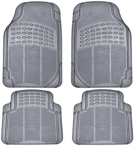 BDK All Weather Rubber Floor Mats for Car SUV & Truck – 4 Pieces Set (Front & Rear), Trimmable, Heavy Duty Protection (Grey)