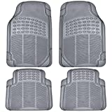 mat sets for cars - BDK All Weather Rubber Floor Mats for Car SUV & Truck - 4 Pieces Set (Front & Rear), Trimmable, Heavy Duty Protection (Grey)
