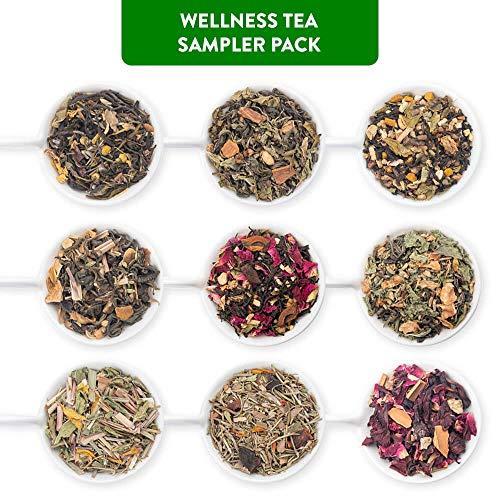 Blended Sampler Tea - Udyan Wellness Tea Sampler Pack, 9 Teas 0.35 oz each | 3.2 oz (36 cups) | 100% Natural Ingredients | Blended Whole Leaf Tea | Tea Variety Pack