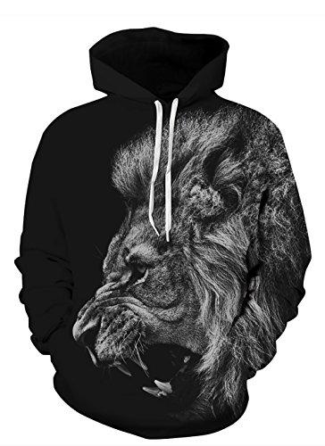 Azuki Unisex 3D Printed Novelty Hoodies Black Roaring Lion Fashion Sweatshirt with Big Pockets(Medium) ()