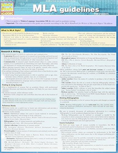 Mla Guidelines (Quick Study Academic)