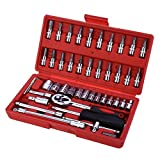 Blue Stones 46pcs 1/4-Inch Socket Set Car Repair Tool Ratchet Set Torque Wrench Combination