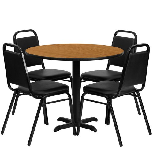 Flash Furniture 36'' Round Natural Laminate Table Set with 4 Black Trapezoidal Back Banquet Chairs - 36' Set Pub