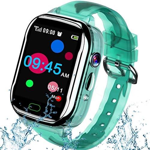 iGeeKid Kids Smart Watch Phone-IP67 Waterproof Smartwatch Boys Girls Toddler Digital Wrist Watch 1.44'' Full Touch,Calls,Camera,Gizmos Games,Alarm,12/24 Hr Learning Toys Kids Valentines Gifts (Green)