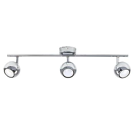 MiniSun - Plafón para el techo vintage con 3 focos - lámpara con forma de regleta cromada