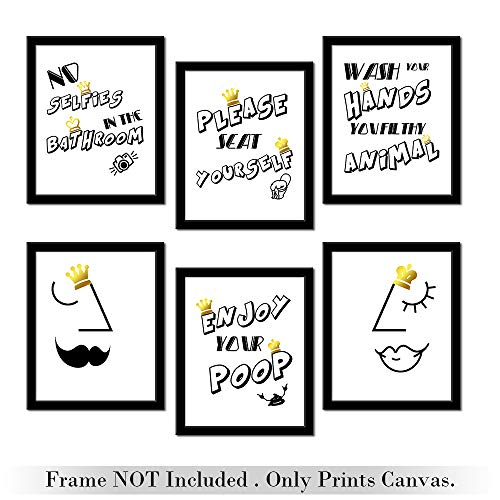 Funny Bathroom Black And White Canvas Wall Art Print Canvas Prints | 8x10 Inches- Set of 6- Unframed | Quotes Design Great Gift for Decor