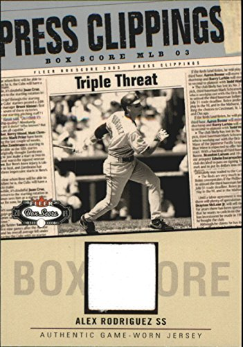 (2003 Fleer Box Score Press Clippings Game Jerseys #AR Alex Rodriguez Game-Worn Jersey Card)