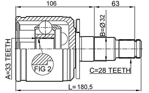 Mr331257 Inner CV Joint Left 33X34.6X28 For Mitsubishi Febest