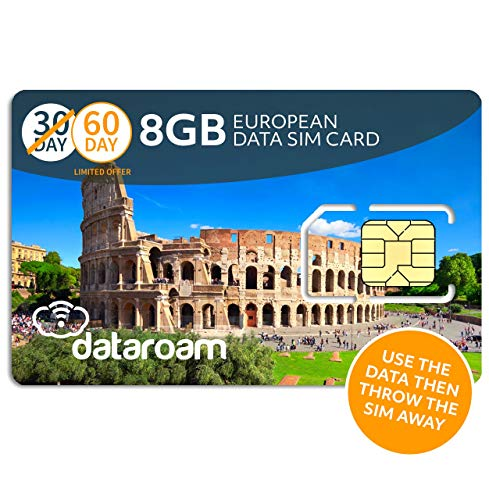 Cellhire Prepaid 4G Europe Data SIM Card - Europe 8GB Bundle - 36 Countries - 3-in-1 SIM ()