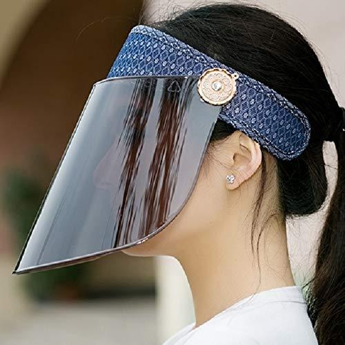 (uv sun visor hat cap women girls big along ride sunscreen summer electric car summer covering her face (monochromatic dark blue diamond lens)