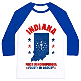 Indiana First in Homophobia Fourth in Obesity White/Blue Unisex Baseball Tee by LookHUMAN