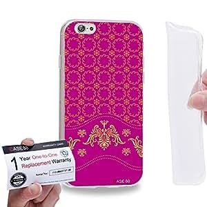 "Case88 [Apple iPhone 6 / 6s (4.7"")] Gel TPU Carcasa/Funda & Tarjeta de garantía - Art Aztec Assorted Design Pink & Yellow"
