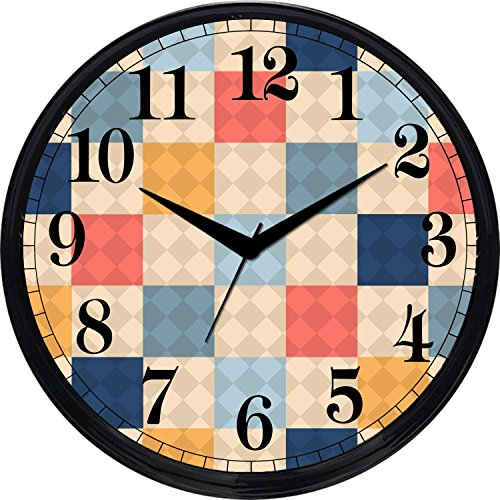 Cartoonpur Analog Round 11 Inch Cute Checks Wall Clock with Glass