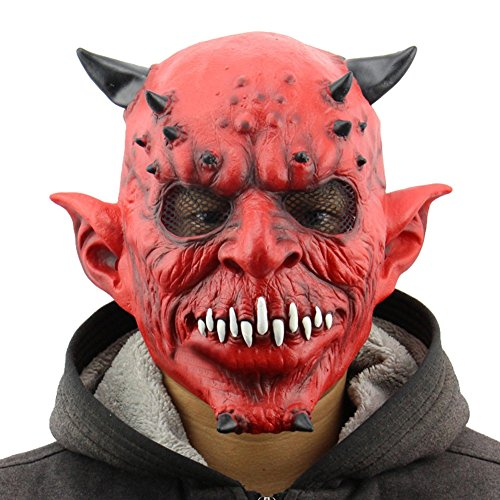 [LETSQK Adult Latex Creepy Scary Toothy Devil Demon Skull Overhead Halloween Costume Mask Red] (Red Devil Scream Queens Costume)