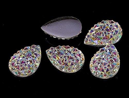 CraftbuddyUS MG1-50 pcs 10X14mm Pear Rhinestone Diamante Flat Back Faceted AB Clear Resin Moon Gems