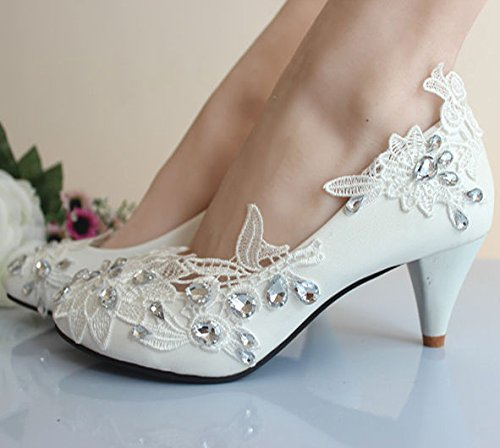 JINGXINSTORE principessa principessa principessa matrimonio Party bridalhoes romantica con fiori e pizzo sexy donne High Heels, bianco, UK7.5 EU41 ffe21a