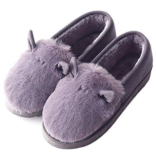 CHNHIRA Womens House Slippers Slip On Indoor Cotton Slipper Dark Grey mFwDgAqY