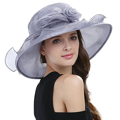 Janey&Rubbins Women's Graceful Organza with Feather Derby Day Party Church Dress Wide Brim Sun Hat (Gray)