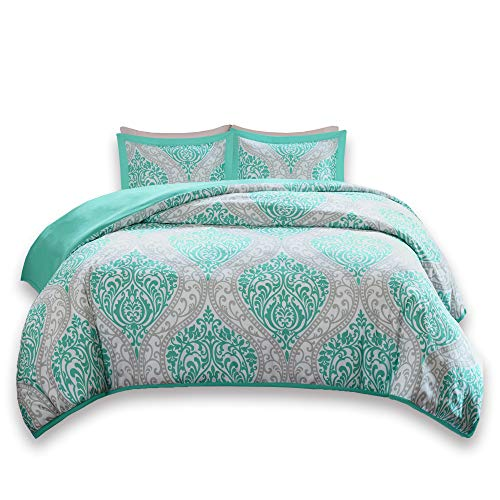 Duvet Cover Full/Queen Size - Coco Teen Girls Bedding Set by using Corner Ties - 3 Pieces [ 1 Duvet Cover, 2 Shams ] Teal and Grey Duvet Bed Sets by using Damask Pattern