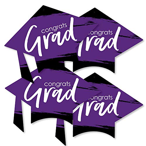 Purple Grad - Best is Yet to Come - Grad Cap Decorations DIY Purple Graduation Party Essentials - Set of 20 -