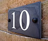 High Quality Natural Honed Slate Deep Engraved House Door Gate Number Sign Plaque 1-9999 (10 x15cm up to 2 digits only, White)