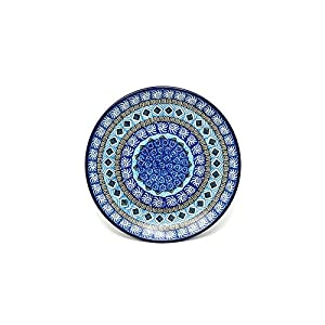Polish Pottery Plate – Salad/Dessert (7 3/4″) – Aztec Sky
