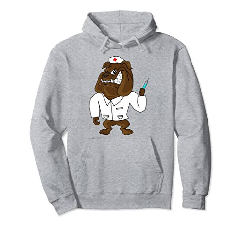 Unisex Funny English Bulldog Nurse Hoodie Best Gift For Nurse Medium Heather Grey