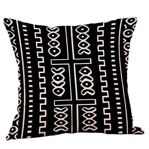 jufengliangyou Geometric Pattern Linen Pillow Pillowcase Cushion Cushion Decorative Backrest Pillow A Variety of Colors (E)