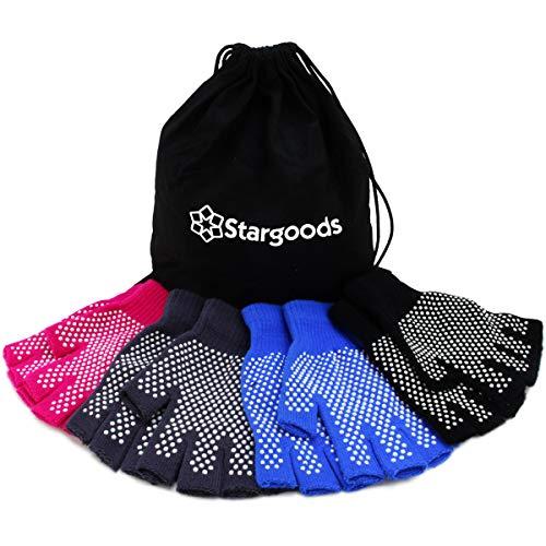 Stargoods Yoga Gloves Non Slip Fitness Grip, Fingerless Pilates Glove for Training Workout, Pack of 4 Pairs