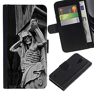NEECELL GIFT forCITY // Billetera de cuero Caso Cubierta de protección Carcasa / Leather Wallet Case for Samsung Galaxy S4 IV I9500 // Piedra Esqueleto