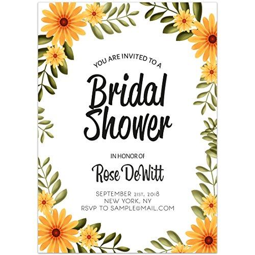 Floral Border Yellow Daisies Bridal Shower Invitations