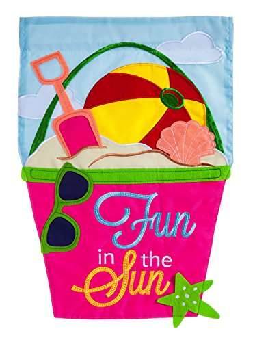 Evergreen Fun in the Sun Applique Garden Flag, 12.5 x 18 inc