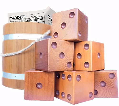 Yardzee & Yardkle Giant Yard Dice Set (6 Dice) with Hardwood Bucket, Laminated Score Cards, & Dry Erase Marker | Sealed for Indoor & Outdoor Use | Wedding Games | Giant Wooden Lawn Dice by Splinter Woodworking Co