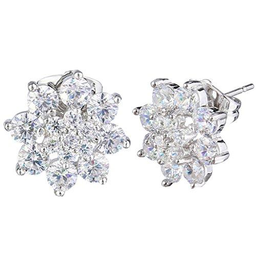 EVER FAITH Silver Tone Zirconia Earrings product image