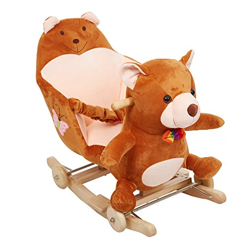 KARMAS PRODUCT Plush Bear Rocking Horse Cute Style,Solid Wood Rocking Chair, Super Soft Plush Rocker Riding Horse Toy with Music melody,You Can Switch Driving Mode (Horse Rocking Music Box)
