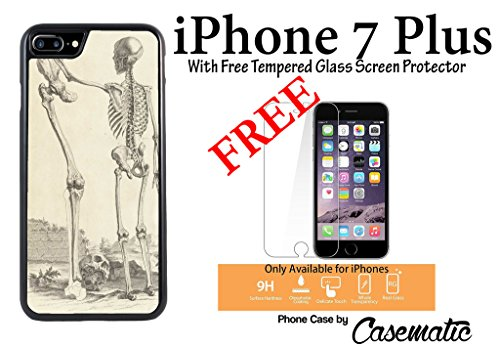 iPhone Case Death to Giants Skeleton Plastic Black Phone Case For Apple iPhone 7 Plus With Free .33 mm Premium Tempered Glass Screen Protector by Casematic (Iphone 7 Plus Black Screen Of Death)