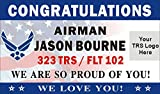 Alice Graphics 3ftX5ft Custom Personalized Congratulations Airman U.S. (US) Air Force Basic Military Training Graduation Banner Sign Poster with Air Force and Your TRS Logo (Flag Background) Review