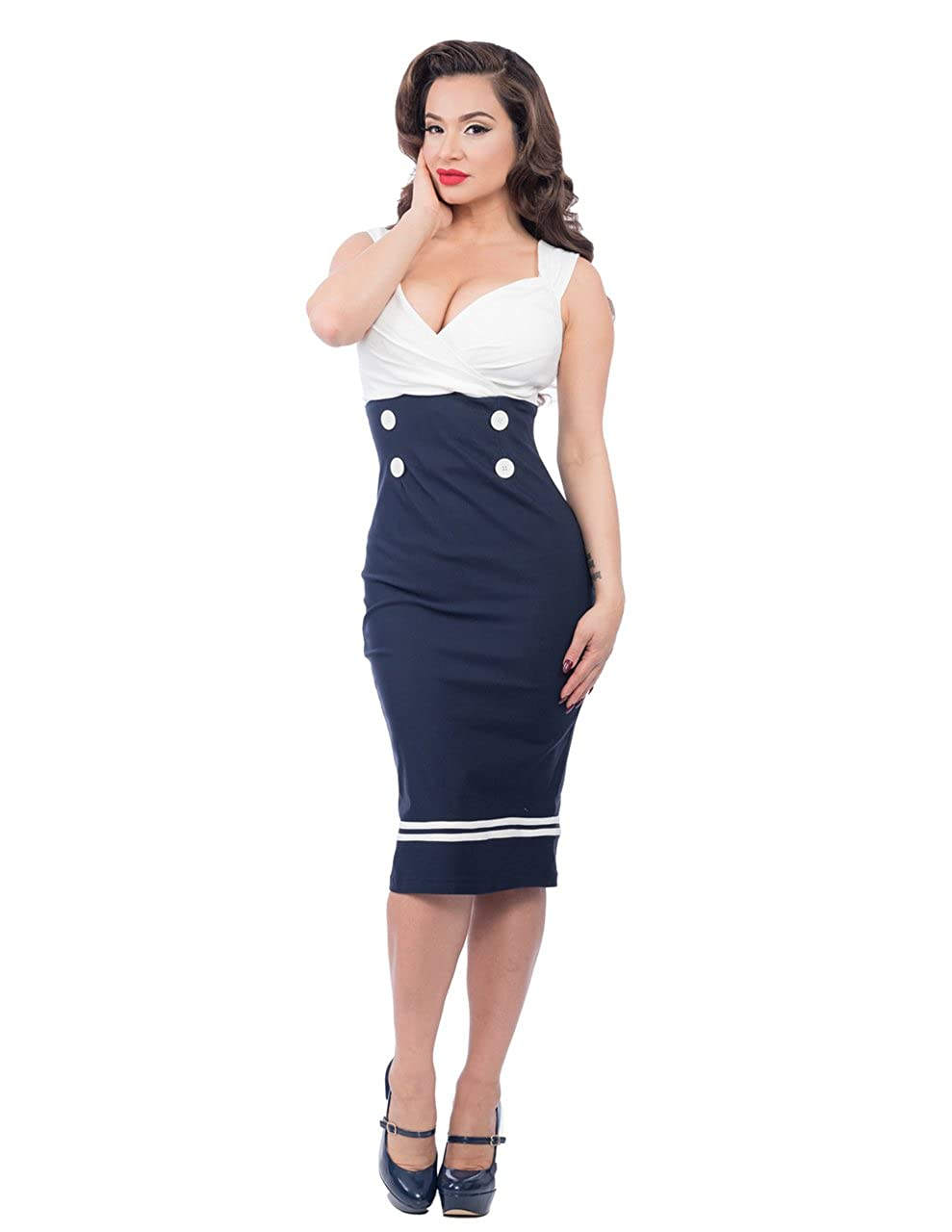 1940s Costumes- WW2, Nurse, Pinup, Rosie the Riveter Steady Clothing Womens Set Sail Diva Dress $48.95 AT vintagedancer.com