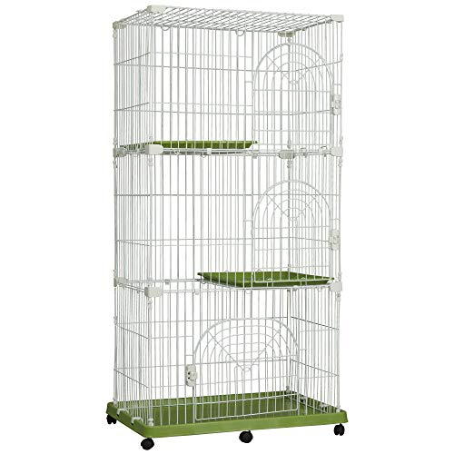 PawHut 70 3-Level Steel Wire Vertical Cat Condo Pet Cage - White/Green