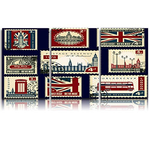 Arts Language 3 Pieces Canvas Print Wall Art for Office/Livingroom/Bedroom Vintage London Stamp Collection Stretched and Framed Modern Giclee Artwork Wall Decor 16x24inx3