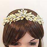 Gold Wedding Crown Bridal Headband Crystal Tiara