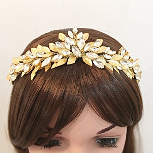 Gold Wedding Crown Bridal Headband Crystal Tiara by FloweRainboW
