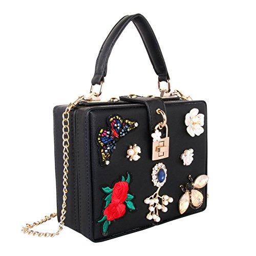bandoulière black Broderie Pearl à Diamant Diamond Lourds Main Sac Luxury à Yanbao épaule Main Papillon Sac Flower Sac IZTgwwqxB