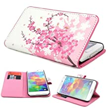 Eforcase Pink flowers bees Flower Design Wallet Flower Stand PU Leather Wallet Case Cover for Samsung Galaxy S5 i9600 with Screen protector