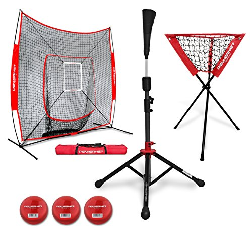PowerNet DLX Pro Bundle (Baseball Softball Net w/ Strike Zone, 3 Training Balls, Travel Tee, & Ball Caddy)